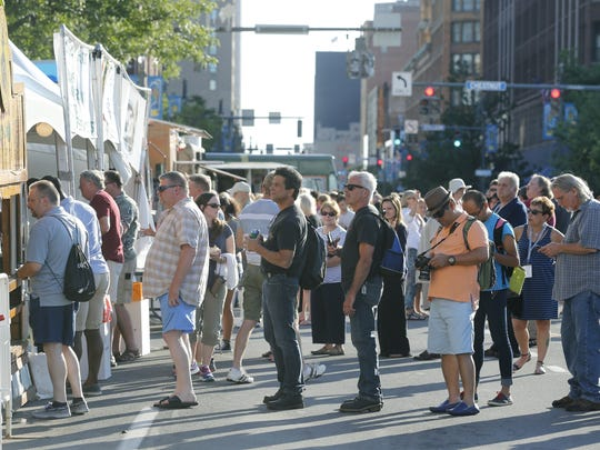 Lines for the food trucks on Main Street during the Xerox Rochester International Jazz Festival in 2015.