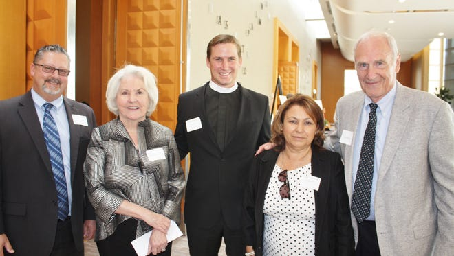 (from left to right) Roberta Klein, Pastor Derek Fossey, Manuela Silvestre, and Clay Klein.