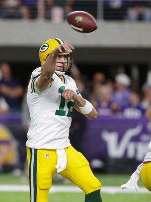 PACKERS - Green Bay Packers quarterback Aaron Rodgers (12) throws an incomplete pass during the 1st quarter of the Green Bay Packers game against the Minnesota Vikings, Sunday, September 18, 2016 at U.S. Bank Stadium, in Minneapolis, Minn.- Photo by Mike De Sisti /MDESISTI@JOURNALSENTINEL.COM
