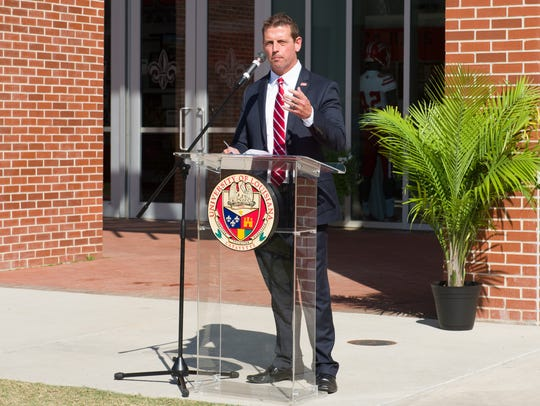 UL athletic director Bryan Maggard, shown here speaking at the recent dedication and sign unveiling of the UL Student Athlete Performance Center named for Donald and Janice Mosing, fired football coach Mark Hudspeth last Sunday.