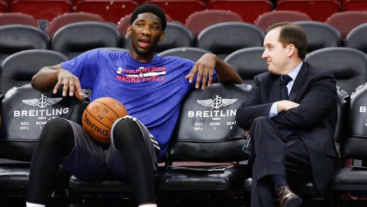 Injured Philadelphia 76ers center Joel Embiid talks