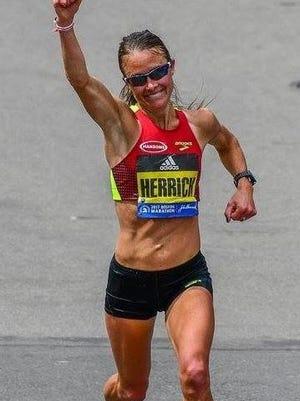 Danna Herrick at the Boston Marathon.