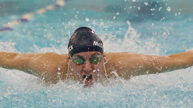 Paige McCormick swims a butterfly race during the spring. The Hudson 2020 graduate was a 16-time state qualifier during her career with the Explorers.