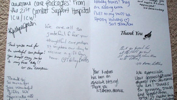 Thank you card from troops