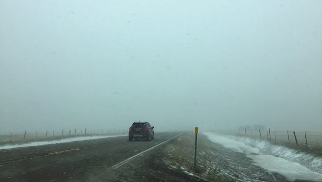 Near white-out conditions in the Sun River Valley west of Great Falls Friday afternoon.