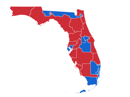 Election map shows how voters voted in Florida Governor, Senate and House races