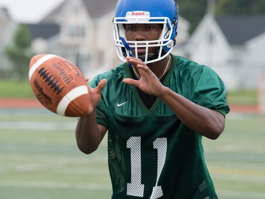 Dover's Jordan Magee during the first day of football