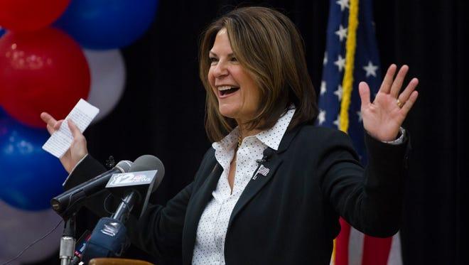 Republican U.S. Senate candidate Kelli Ward speaks at Arizona State University in Tempe on  May 8, 2015.