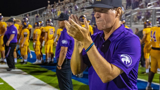 Liberty Hill head coach Jeff Walker led the Panthers to a 40-7 win over Marble Fallas Friday.