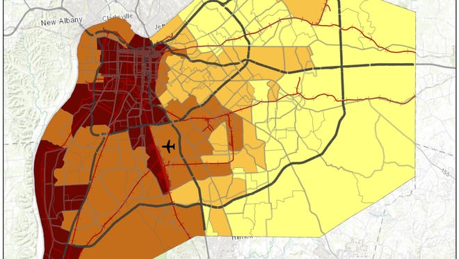 Map showing risk levels of asthma attacks in Louisville.