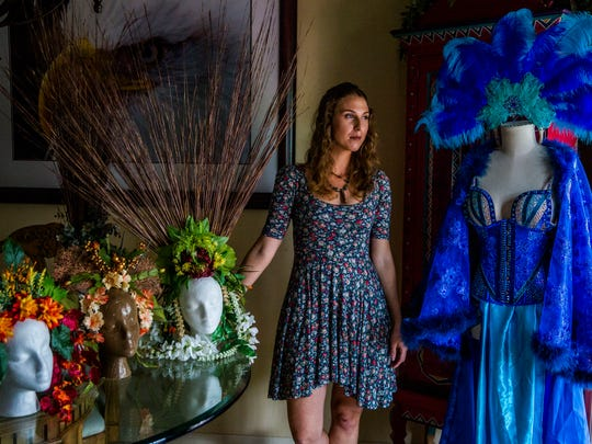 Katie Vance in her East Naples home on Friday, Jan. 12, 2018. Vance started Floromancy Designs and custom makes headwear and accessories.