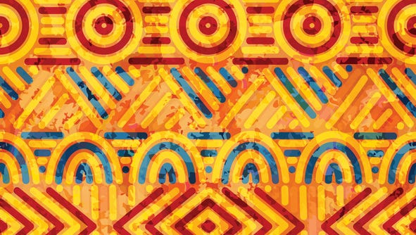 seamless ethnic pattern, orange and blue colors, handmade, watercolor texture, vintage ornament, vector background