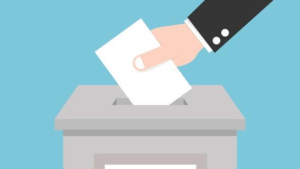 Vote ballot with box.