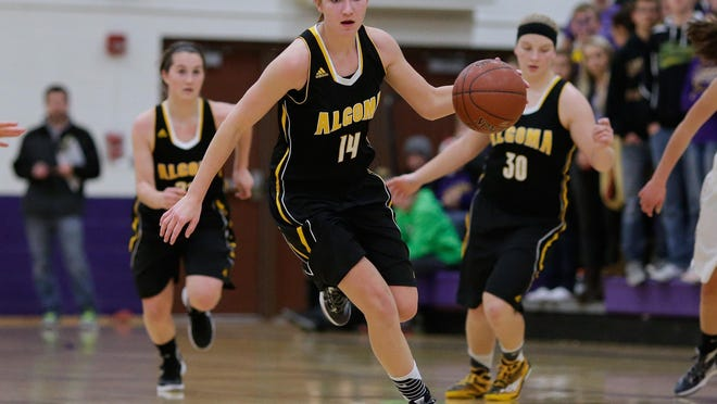 Algoma's Baleigh Delorit takes the ball down the court on a breakaway at Kewaunee in a Packerland Conference girls basketball game on Jan. 5. The Wolves earned a No. 1 seed in their sectional of the WIAA Division 4 playoffs.
