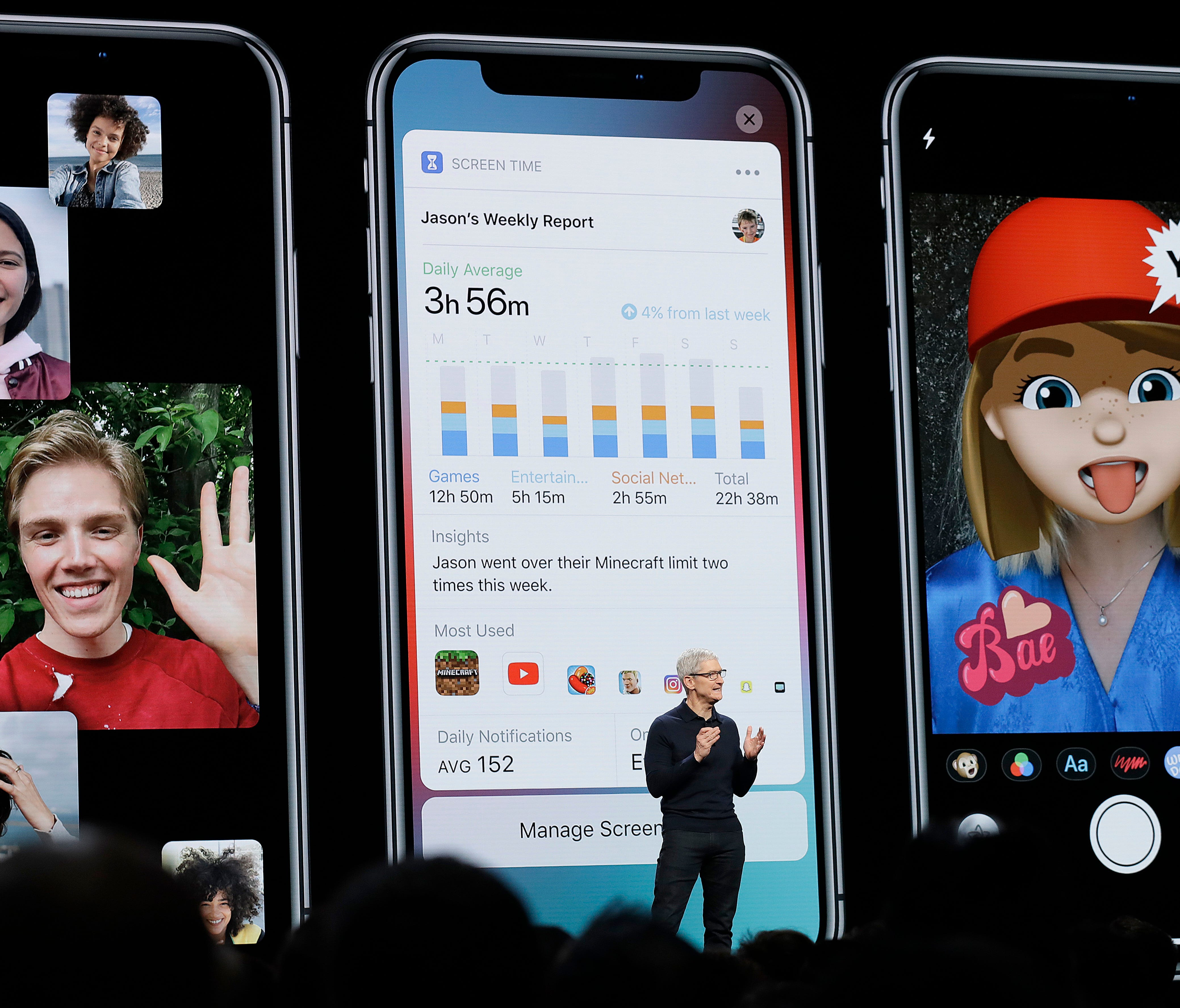 Apple CEO Tim Cook speaks during an announcement of new products.