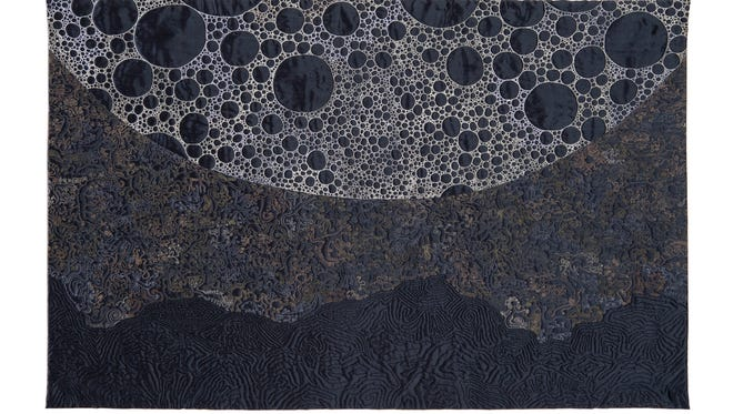 """Moonrise Study"" by Brienne Elisabeth Brown of Barrington, Rhode Island, is one of the art quilts featured in the ""Quilt National"" exhibit, opening Friday at the Hayes Presidential Library and Museums."