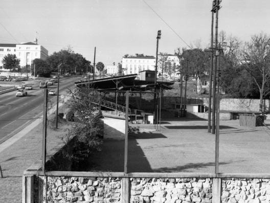 A look at Centennial Field's baseball stadium from beyond the outfield wall, looking back towards downtown Tallahassee on Dec. 17, 1962.
