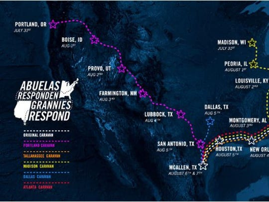 Map of the different caravans headed to McAllen, Texas as part of the Grannies Respond immigrant advocacy group