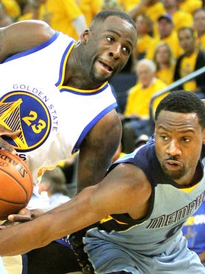 May 5, 2015 -   Memphis Grizzlies Tony Allen, right, defends Golden State Warriors Draymond Green during Game 2 in Oakland.