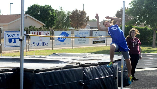 Carlsbad's Tessa Graham in the girls high jump Tuesday at Hobbs. Graham came in third in that event.