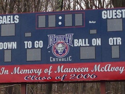 Scoreboard and Kennedy Catholic High School in Somers, N.Y.