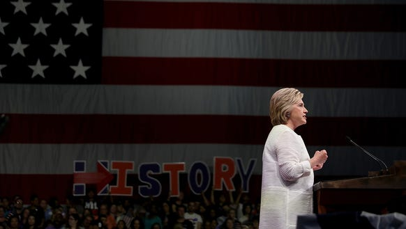 Hillary Clinton speaks during her primary night event