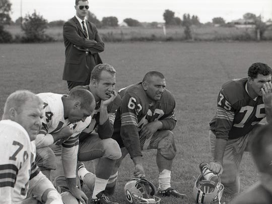 From upper left, Green Bay Packers center Jim Ringo