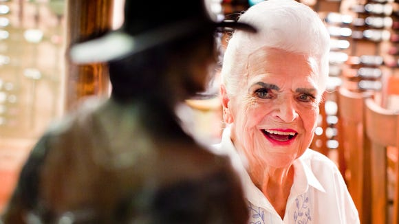 Former Arizona Gov. Rose Mofford stands in one of the