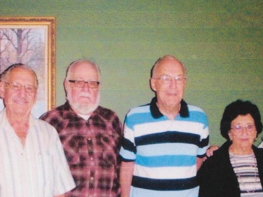 Athens High School class of 1954 held its 62nd year reunion on Aug. 21, following the Athens Fair parade at the Hartman's Variety Restaurant in Athens. As pictured, attending were Stanley Meyer, from left, Pete Wanke, Floyd Rodman, Ronald Nixdorf, Bette (Gierl) Kunze, Mary (Daniels) Writz and Joan (Nowacki) Held. Also attending, but missing from the picture, was Jackie (Giese) Bergman. A moment of silence was also held for the 20 deceased class members.