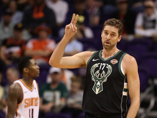Pau Gasol celebrates a basket during one of his few games with the Bucks.