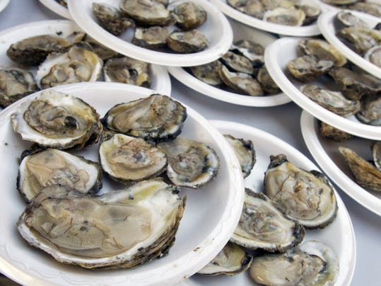 Oysters on the half shell are shown from last year's festival.