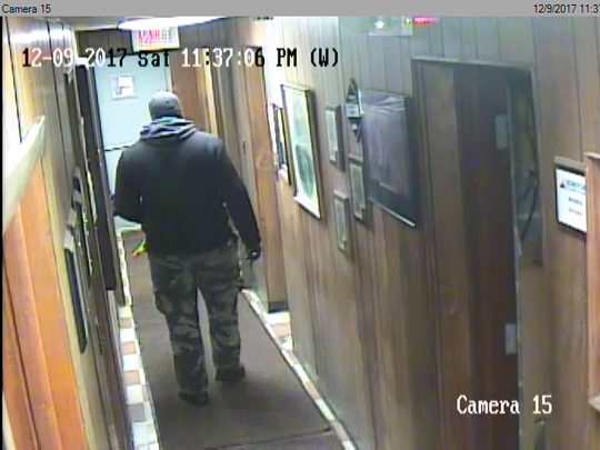 Security camera image of the man suspected of burglarizing Weiner Iron & Metal in Schuylkill County between Dec. 8 and Dec. 10, 2017, according to state police at Schuylkill Haven. The man is alleged to have stolen $100,000 in cash from the company's vault room. State police ask anyone who can identify this man to call them at 570-754-4600.