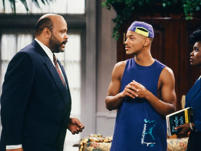 "This photo provided by NBC shows, from left, James Avery as Philip Banks, Will Smith as William ""Will"" Smith, and Janet Hubert as Vivian Banks, in episode 7, ""Def Poet's Society"" from the TV series, ""The Fresh Prince of Bel-Air."" Avery, 65, the bulky character actor who laid down the law as the Honorable Philip Banks has died. Avery's publicist, Cynthia Snyder, told The Associated Press that Avery died Tuesday, Dec. 31, 2013."