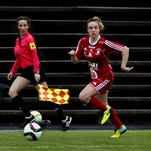 Jade Flory playing soccer for team in Sweden