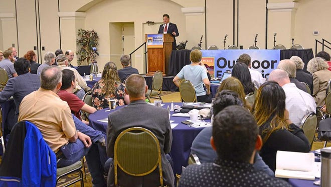 Las Cruces Mayor Ken Miyagishima speak at the New Mexico Outdoor Economics Conference, held May 3 and 4 in Las Cruces.
