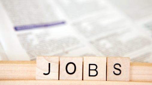 Jobs written on block letters