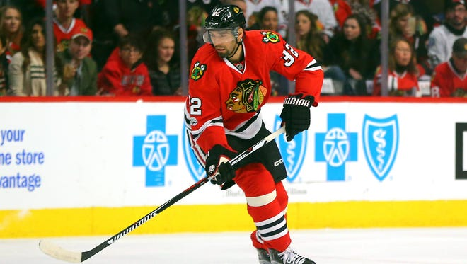 Chicago Blackhawks defenseman Michal Rozsival during the first period against the Minnesota Wild at the United Center.
