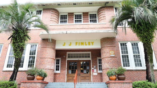 The entrance of J.J. Finley Elementary School in Gainesville is seen Monday. The debate has resurfaced about changing the name of the school, which is named for a Confederate brigadier general.