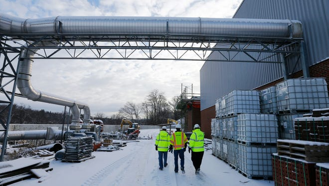 Construction crew at the Binghamton Johnson City Wastewater Treatment Plant in Vestal on Thursday, December 14, 2017.