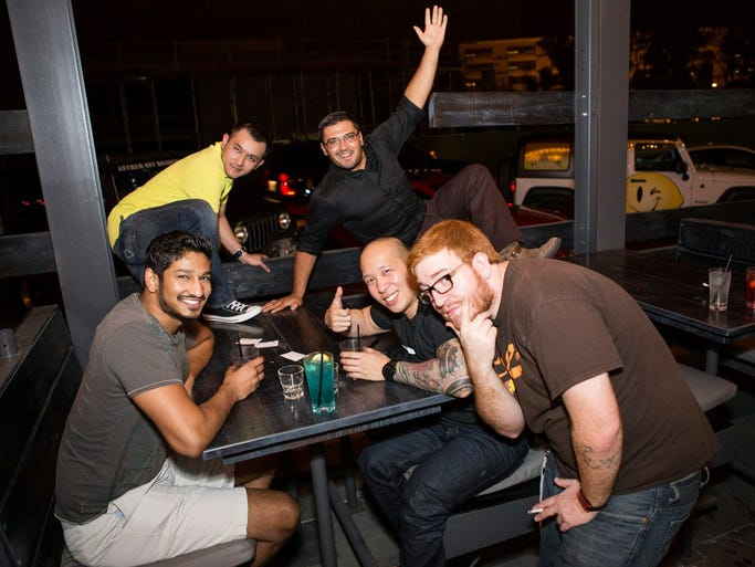 These friends had a good time at American Junkie's reopening in Scottsdale on Wednesday, Aug. 20, 2014.