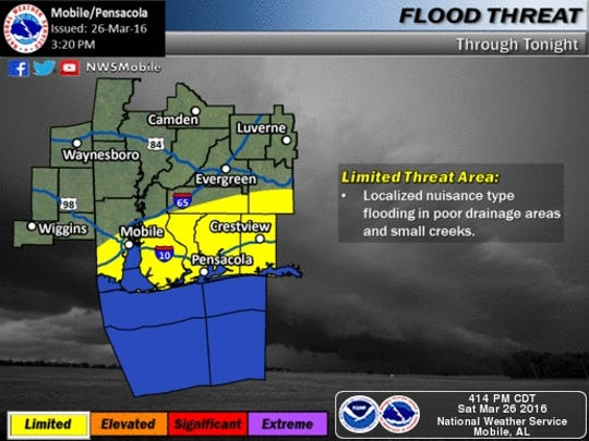 Heavy rain is still expected in the Pensacola area through Sunday morning.