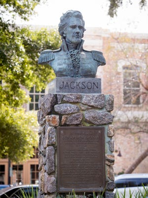 A bust of Andrew Jackson commemorates the transfer of West Florida from Spain to the United States that took place in Pensacola's Plaza Ferdinand VII on July 17, 1821.