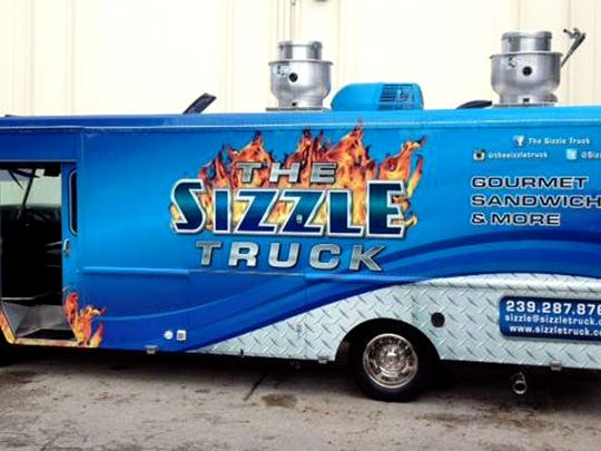 You can't miss The Sizzle Truck, painted bright blue with orange flames, selling gourmet sandwiches at various locations in the Naples area since August 2014.