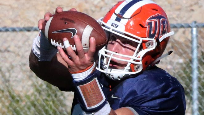 UTEP's Hayden Plinke, 85, grabs a short pass during a Nov. 3rd practice at Glory Field.