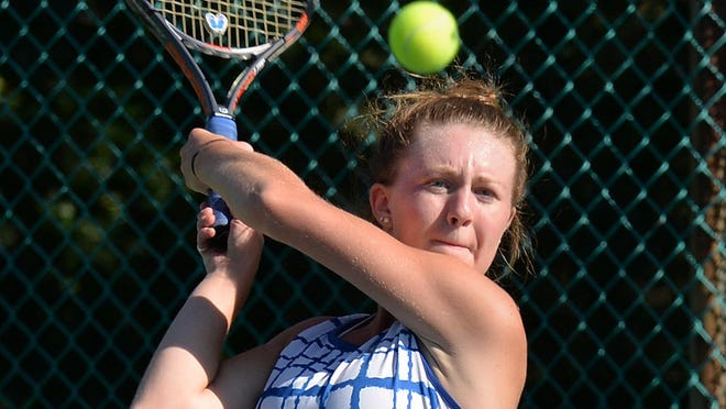 Villa Maria Academy's Ryleigh Valone returns a shot against Erie High during a Region 2 match at Frontier Park on Thursday. Valone won her match 6-1, 6-0 to help the Victors to a 5-0 victory in the opener for both teams.