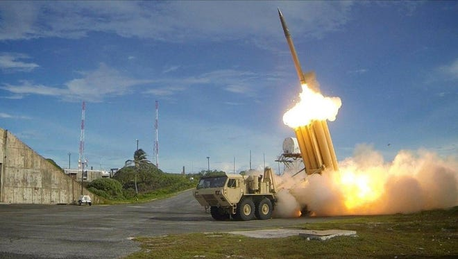 Two Terminal High Altitude Area Defense (THAAD) interceptors being launched during a successful intercept test at an undisclosed location in the U.S.