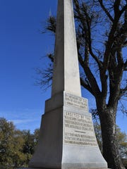 A 15-foot tall granite monument was erected in 1934 by the Daughters of the Confederacy to honor Confederate soldiers. An online petition aims to have the structure, which stands the grounds of Memorial Auditorium, removed.
