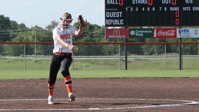 Republic senior pitcher Rachel Rook holds her school's career record for softball strikeouts with 764 and counting.