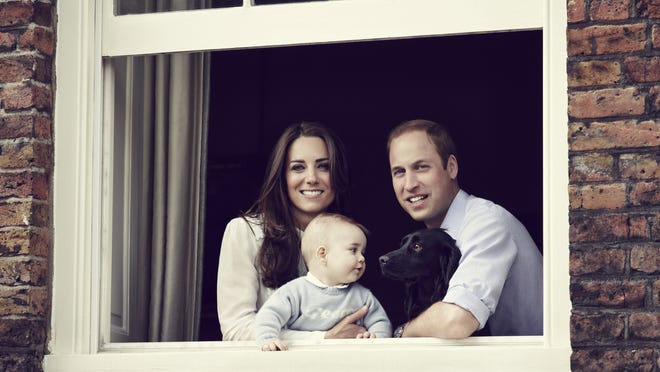 Prince William, Duchess Kate, Prince George and royal dog Lupo at Kensington Palace  in March, 2014