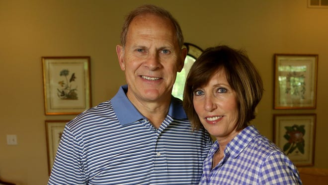 Michigan coach John Beilein with Kathleen Beilein, his wife, in the living room of their home in Ann Arbor on May 13, 2017.